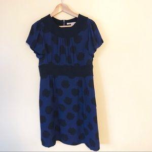 Diane von Fürstenberg blue & black floral dress